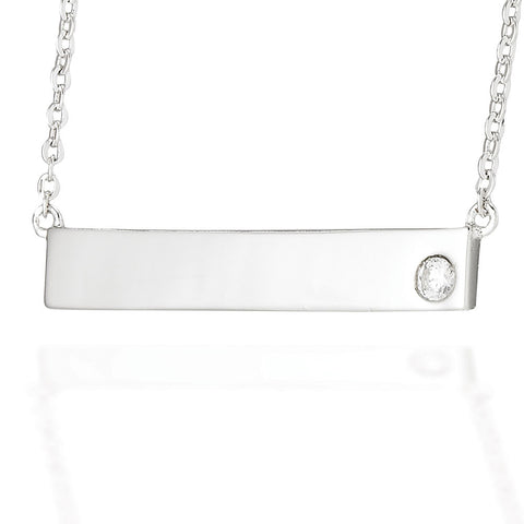 "Sterling Silver bar necklace with 3mm CZ on a 20"" adjustable chain"