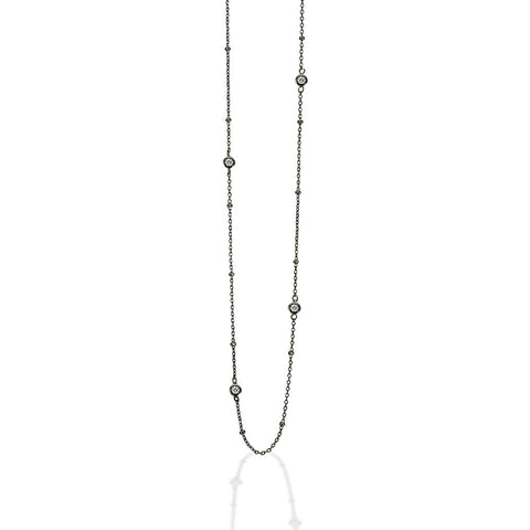 "35"" Sterling Silver black plated CZ by the yard necklace with white CZs"