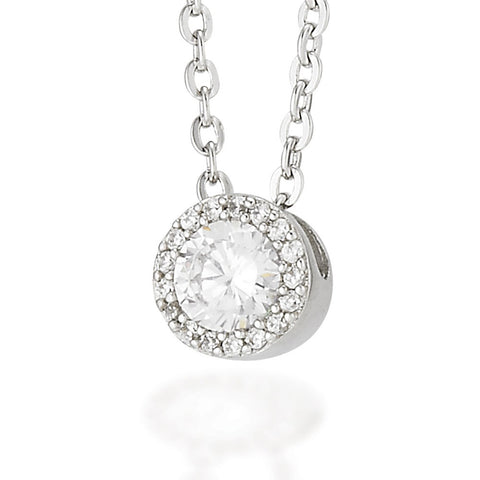 "Sterling Silver round white CZ pendant with white CZ halo pendant on an 18"" chain"