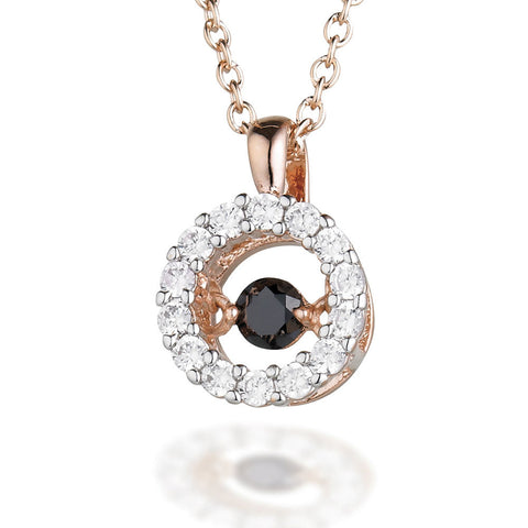 "Rose tone Sterling Silver Round White CZ pendant with Brown dancing CZ center on an 18"" rose tone chain"