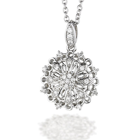 "Sterling Silver CZ fancy circle pendant on 18"" chain"