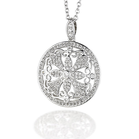 "Sterling Silver CZ fancy circle pendant with cross design on 18"" chain"