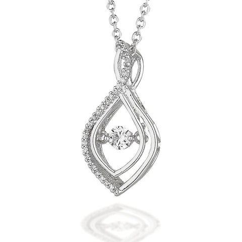 "Tear drop shaped pendant with one side CZ  bezel with dancing CZ center on 18"" chain"