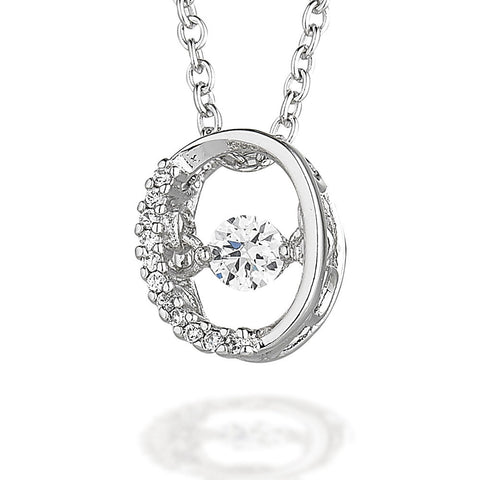 "Oval shaped pendant with one sided CZ bezel and dancing CZ center on 18"" chain"