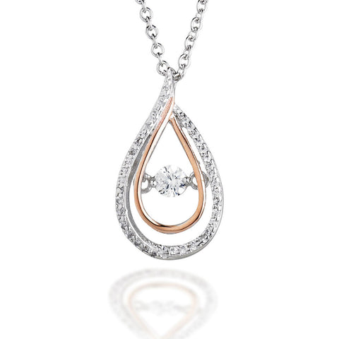 "Pear shaped pendant with CZ bezel and rose tone accents with dancing CZ center on 18"" chain"