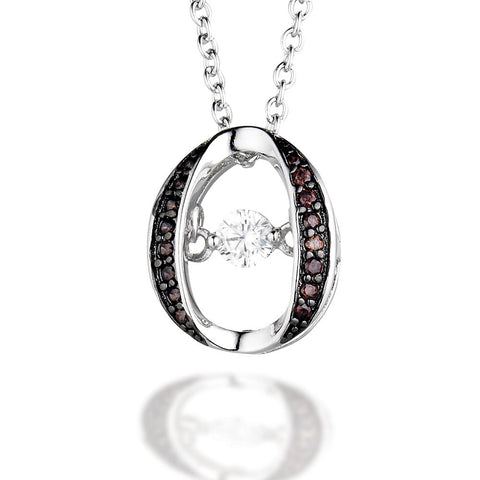 "Sterling Silver round pendant with brown CZ side accents and white dancing CZ center on 18"" chain"