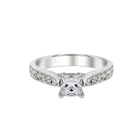 14K White Gold Engagement Ring TWT 0.65 CT.