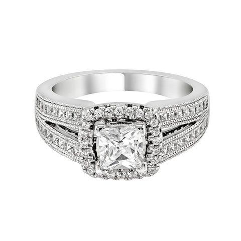 14K White Gold Engagement Ring TWT 0.75 CT.