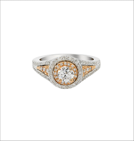 14K White and Rose Gold Engagement Ring TWT 0.50 CT.