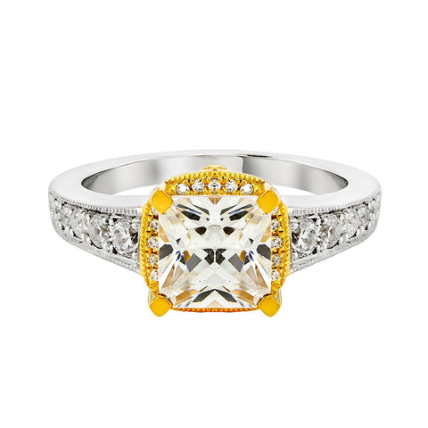 14K White and 18K Yellow Gold Engagement Ring TWT 0.55 CT.