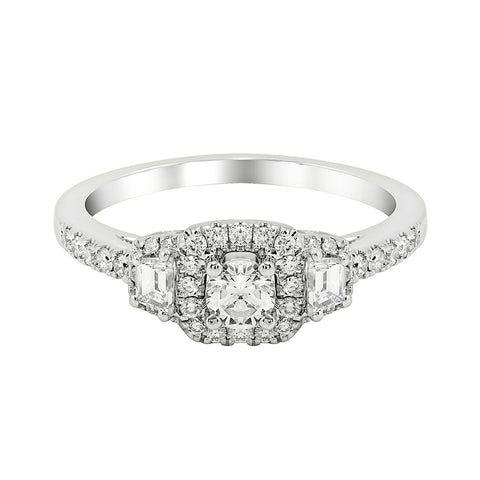 14K White Gold Engagement Ring TWT 0.60 CT.