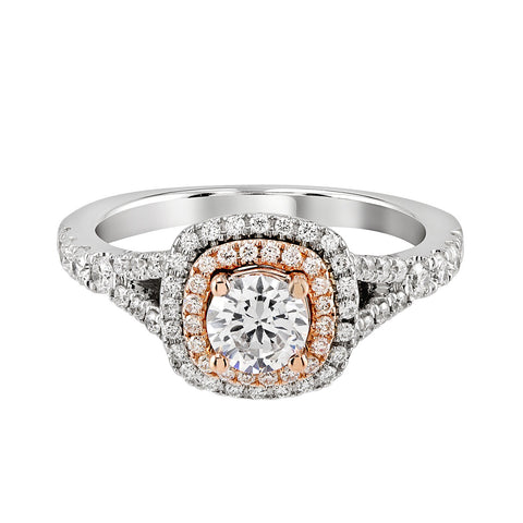 14K White and Rose Gold Engagement Ring TWT 0.65 CT.