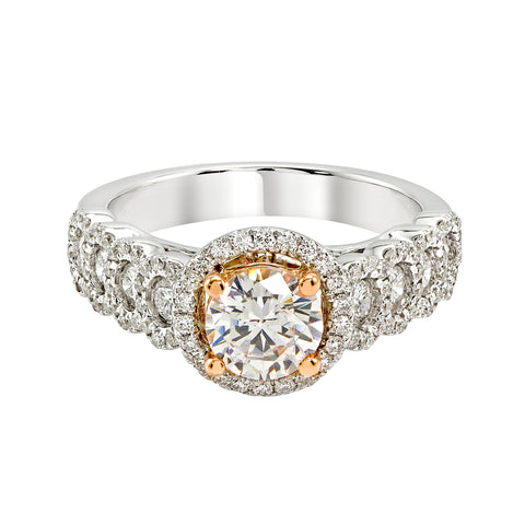 14K White and Rose Gold Engagement Ring TWT 0.75 CT.