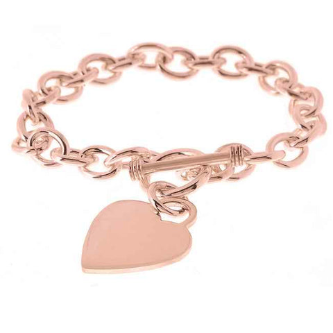 "14K Rose Gold Plated Sterling Silver 7.5"" Heart Toggle Bracel"