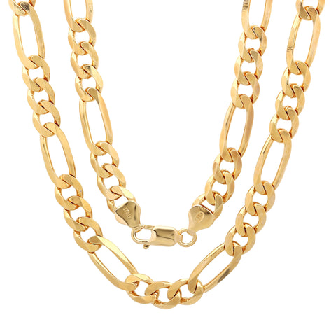 14k Gold Plated Sterling Silver Figaro Chain 7mm