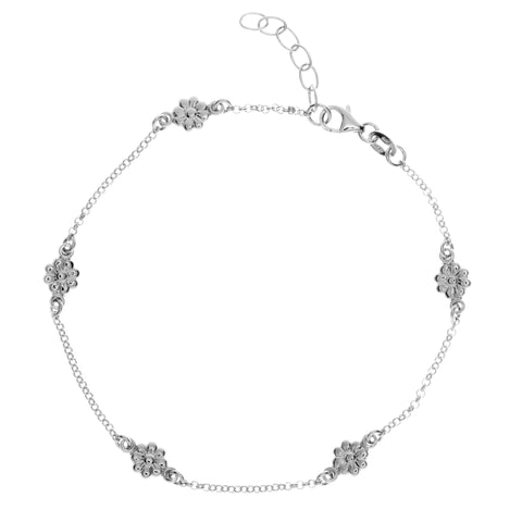 "Sterling Silver Flower Stations Anklet 9""+1"" Extention"