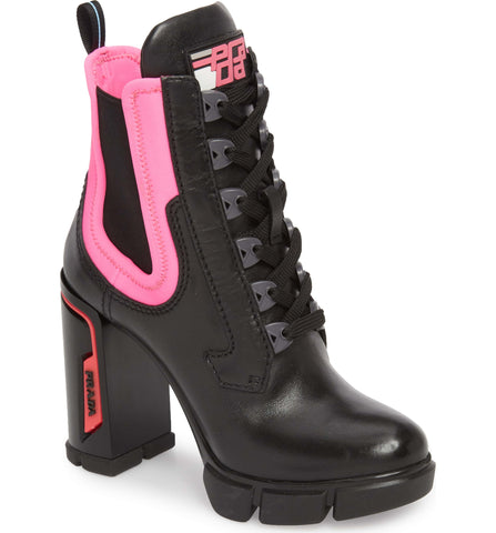 Prada Black Leather Neoprene Pink Ankle Boots Zip Booties