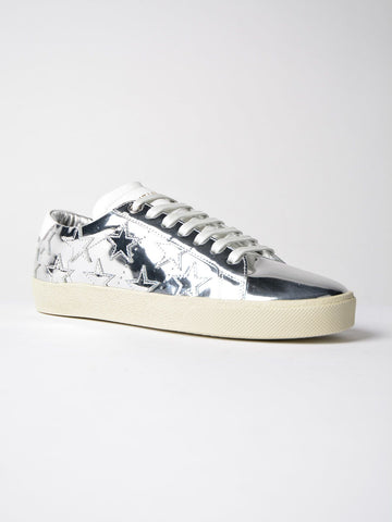 SAINT LAURENT SILVER STAR COURT METALLIC LEATHER  SNEAKERS SHOES TRAINERS
