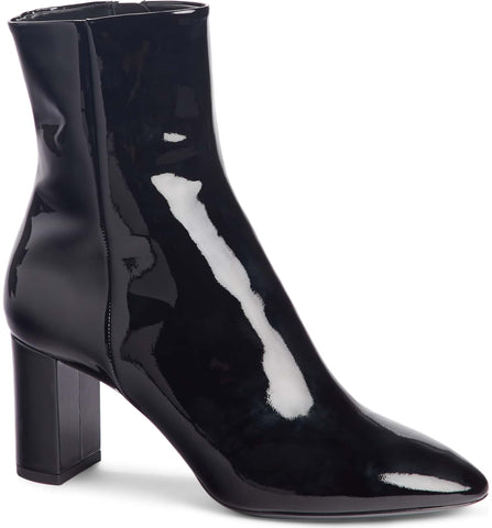 Saint Laurent Loulou Patent Leather Black Zipper Ankle Booties Boots