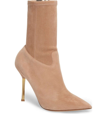 Valentino Beige Suede Twisted Metal Gold Heel Stretch Ankle Booties Boots