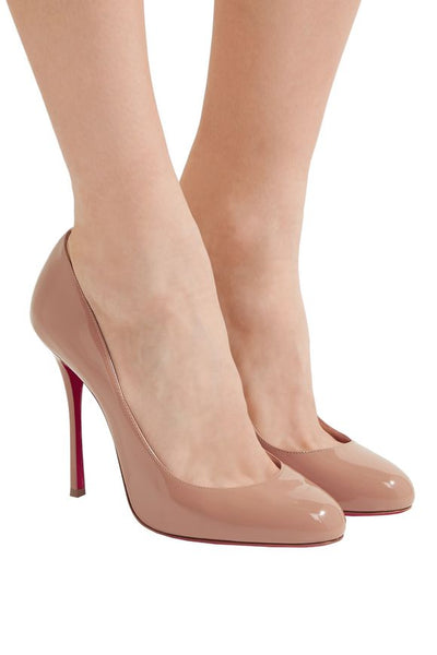 CHRISTIAN LOUBOUTIN Fifetish 100 nude beige classic patent leather pumps shoes