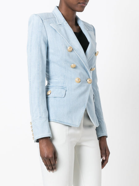 Balmain SS17 Runway Double Breasted Denim Gold Buttons Blazer Jacket