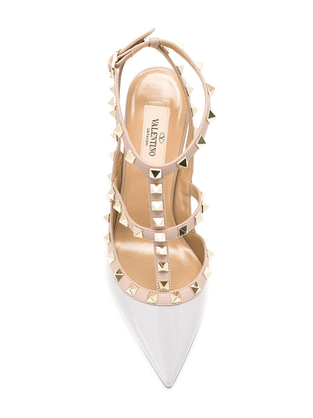 Valentino Rockstud Rockstuds Pastel Blue Gray Patent Studded Pumps Shoes