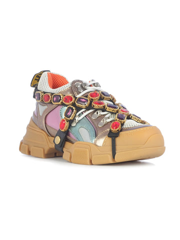 Gucci Flashtrek Embellished Removable Jewels Logo Multi Purple Sneakers