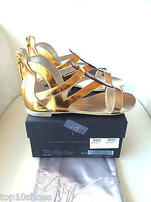 GIUSEPPE ZANOTTI METALLIC FLAT GLADIATOR GOLD SILVER SANDALS SHOES