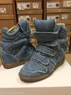 ISABEL MARANT BAYLEY OVER BASKET DENIM BLUE HOT JEANS WEDGE HIGH TOP SNEAKERS PRE-OWNED