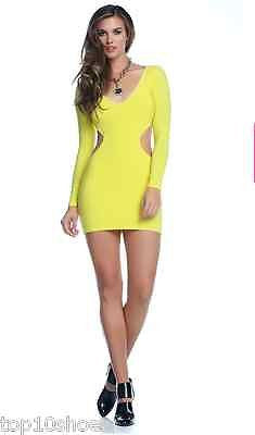 BLVD COLLECTION LONG SLEEVES MINI SUNNY V NECK CUTOUT YELLOW DRESS FORPLAY SMALL