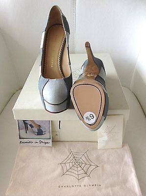 CHARLOTTE OLYMPIA PRISCILLA IN STRIPES BLUE LINEN PLATFORM SHOES PUMPS