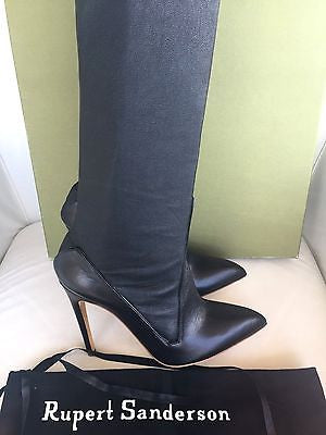RUPERT SANDERSON THIGH HIGH PEDLAR OTK OVER KNEE BLACK SIDE ZIP BOOTS