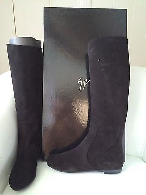 GIUSEPPE ZANOTTI SUEDE BLACK NERO BALLET TUBO FLAT PULL ON BOOT BOOTS