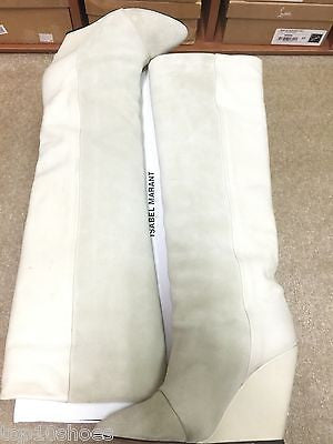 ISABEL MARANT PRESCOTT SUEDE WEDGE ECRU IVORY WHITE PULL ON IVORY BOOTS PRE-OWNED