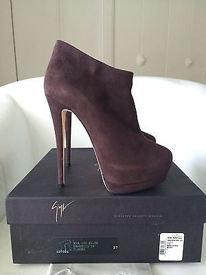 GIUSEPPE ZANOTTI EVA SUEDE BROWN ANKLE DOUBLE PLATFORM BOOTIES BOOTS