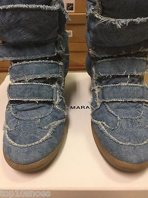 ff6fe18e6456 ... ISABEL MARANT BAYLEY OVER BASKET DENIM BLUE HOT JEANS WEDGE HIGH TOP  SNEAKERS PRE-OWNED ...