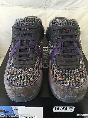 2015 CHANEL CC LOGO PURPLE GRAY TWEED SUEDE SNEAKERS TENNIS SHOES TRAINERS
