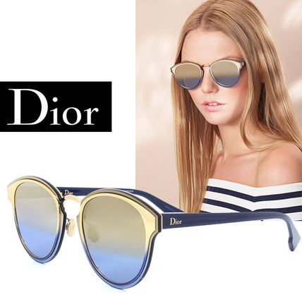 $595 Dior Nightfall Blue Metallic Rose Gold Gradient Round Sunglasses NWT