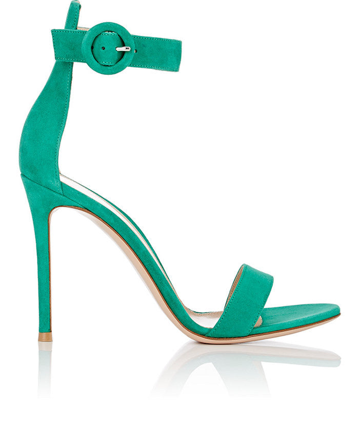 GIANVITO ROSSI PORTOFINO OPEN TOE GREEN ANKLE SUEDE STRAP SANDALS PUMPS SHOES
