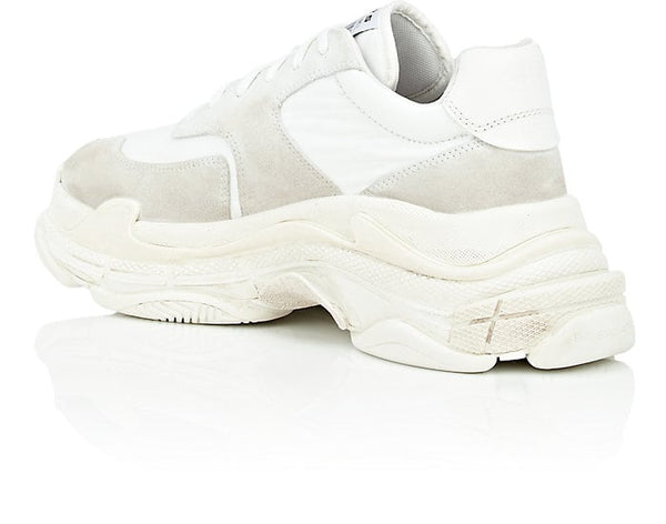 Balenciaga Triple S White Suede Lace Up Low Top Mens Sneakers Shoes
