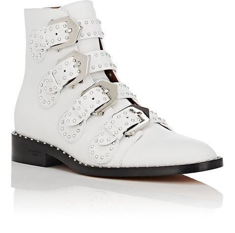 Givenchy White Silver Studs Studded Biker Buckled Short Ankle Booties Boots