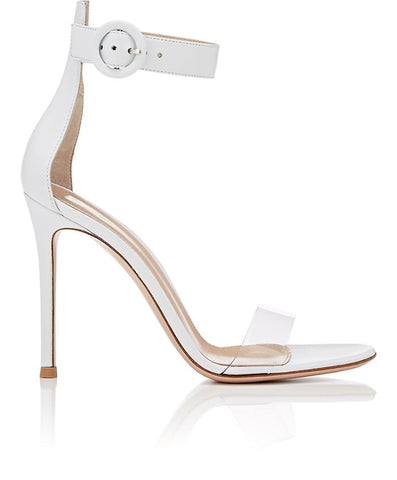 GIANVITO ROSSI STELLA OPEN TOE WHITE PVC TRANSPARENT STRAP SANDALS SHOES
