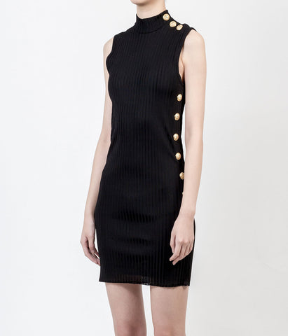 Balmain Black Rib-Knit Sleeveless Mockneck Gold Buttons Dress