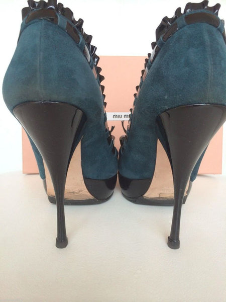 MIU MIU SUEDE TEAL BLACK PLATFORM BOW RUFFLE PATENT OPEN PEEP TOE PUMPS SHOES PRE-OWNED