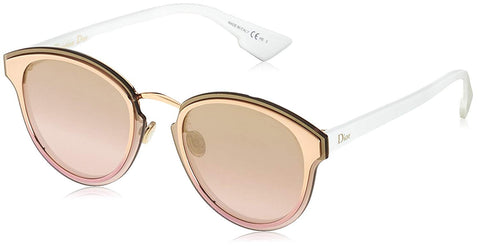 $595 Dior Nightfall Pink Metallic Rose Gold Gradient White Round Sunglasses NWT