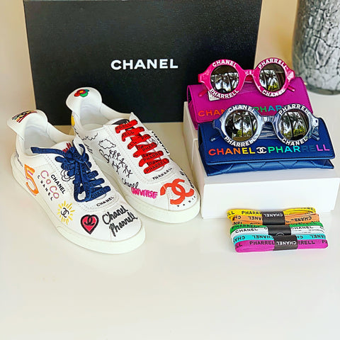 Chanel Pharrell Capsule White Graffiti Canvas Lace Up Sneakers