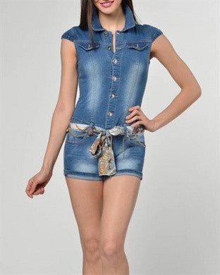 CARLA GIANNINI DENIM ROMPER JUMPSUIT BLUE CAP SLEEVE SCARF BELT BUTTON DOWN S