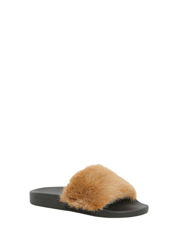 GIVENCHY MINK FUR BEIGE RUBBER SLIDES SANDALS SLIP ON SS17
