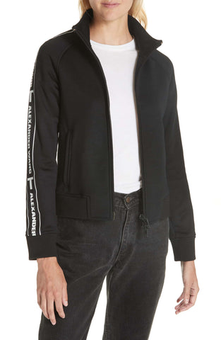 t Alexander Wang Terry French Black White Logo Track Zip Zipper Jacket